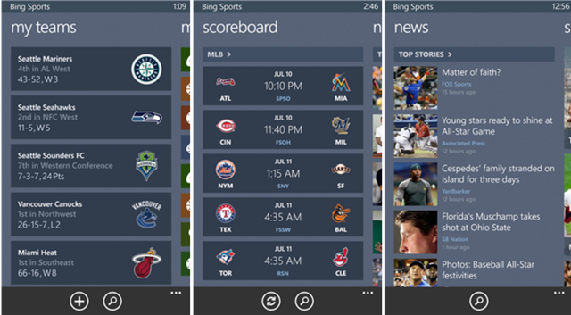 Bing Sports App for Windows Phone