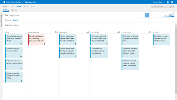 Visual Studio Online provides development teams with a Kanban board for planning, managing tasks and tracking the flow of a project. This iteration board provides insight into the flow of various tasks for product backlog items and bugs.