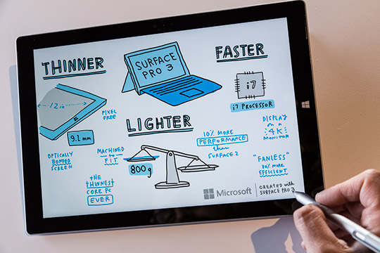 Surface Pro 3 has up to nine hours of Web-browsing battery life, Surface Pro 3 has all the power, performance and mobility of a laptop in an incredibly lightweight, versatile form. It also has a 12-inch ClearType Full HD display, 4th-generation Intel Core processor and up to 8GB of RAM.