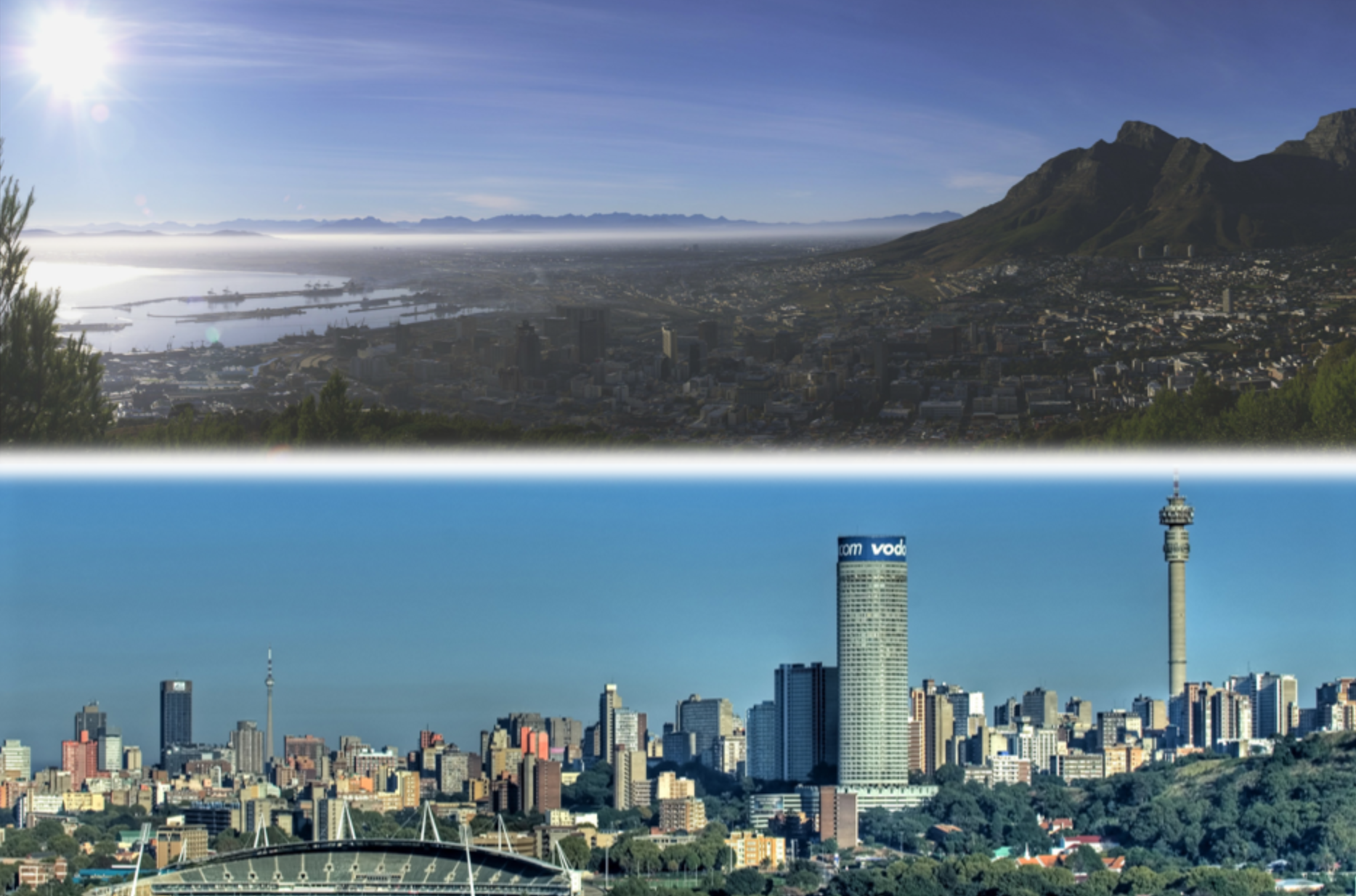 Split photo of shoreline in Capetown and city skyline in Johannesburg