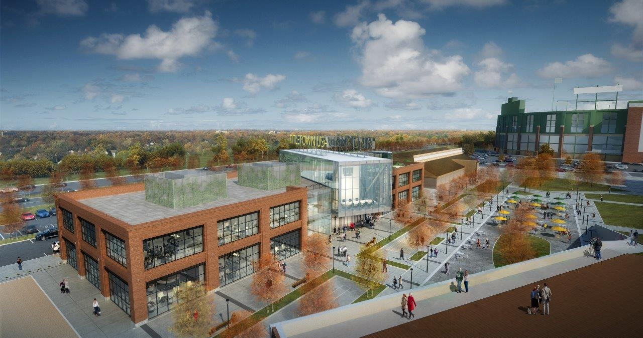 Rendering of the building where TitletownTech will be hosted, within the Titletown District next to Lambeau Field.
