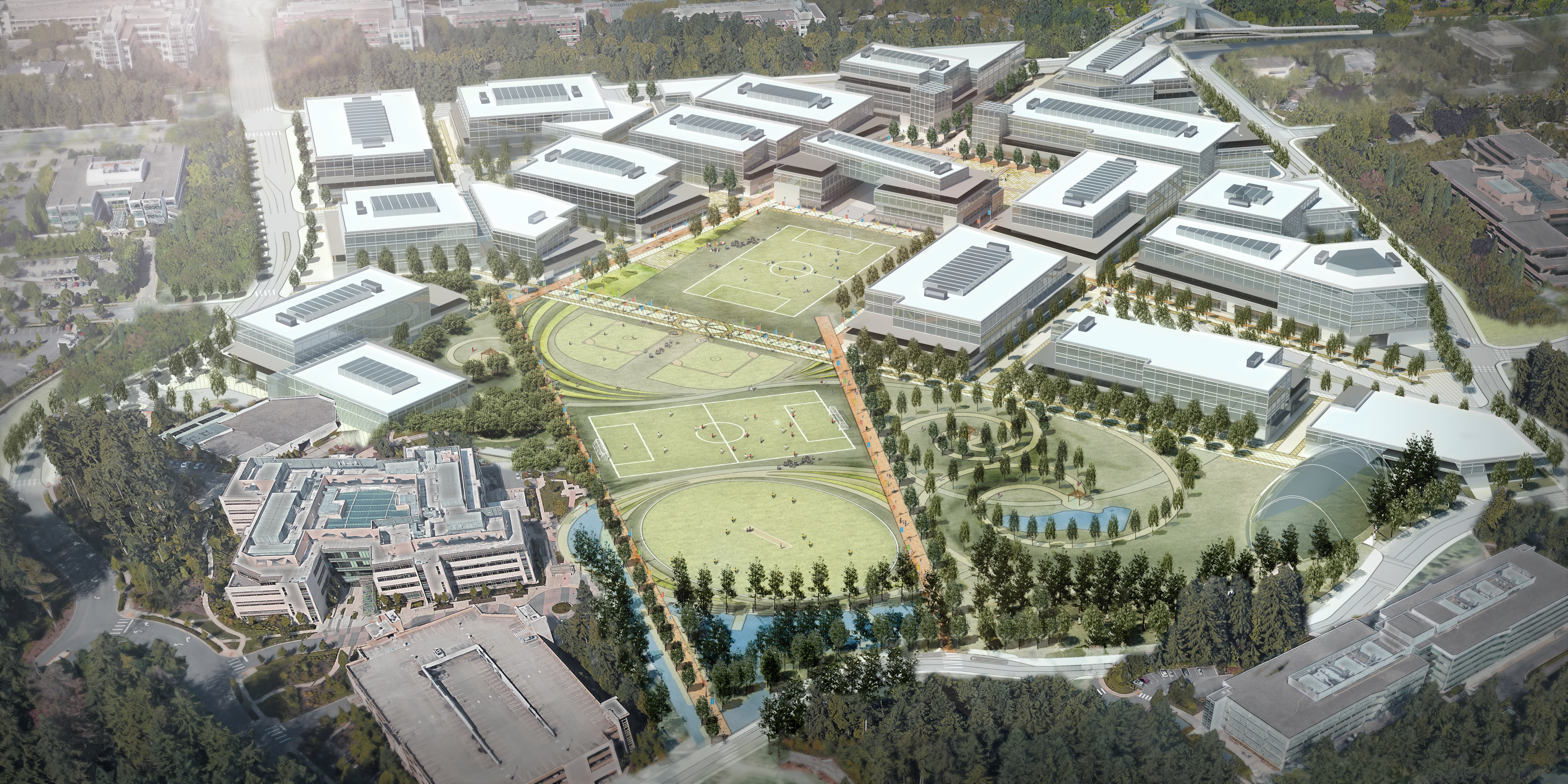 microsoft office redmond wa. Artist Rendering Shows The Planned Redevelopment, Including Removal Of 12 Buildings And Construction Microsoft Office Redmond Wa O