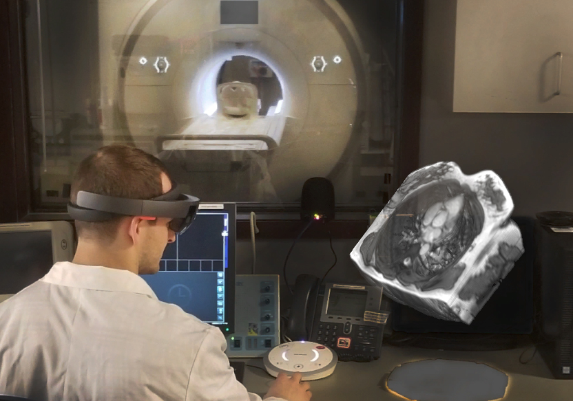 Man using HoloLens with MRI imaging