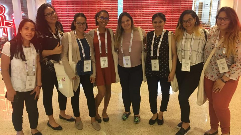 Microsoft civic tech fellow Vanessa Ortiz (right) with fellow women in computer science at Grace Hopper Conference.