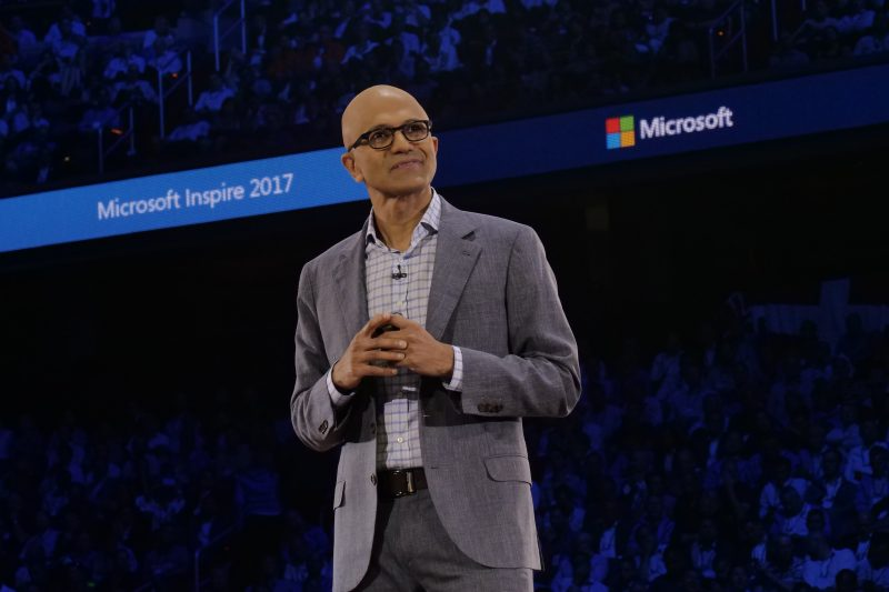 Photo of Satya Nadella on the stage at Inspire