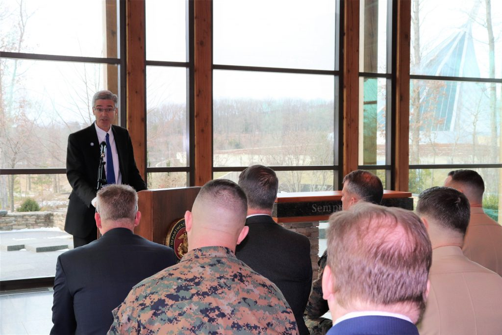 Barry Butler, Embry-Riddle Aeronautical University president, delivers remarks at Quantico